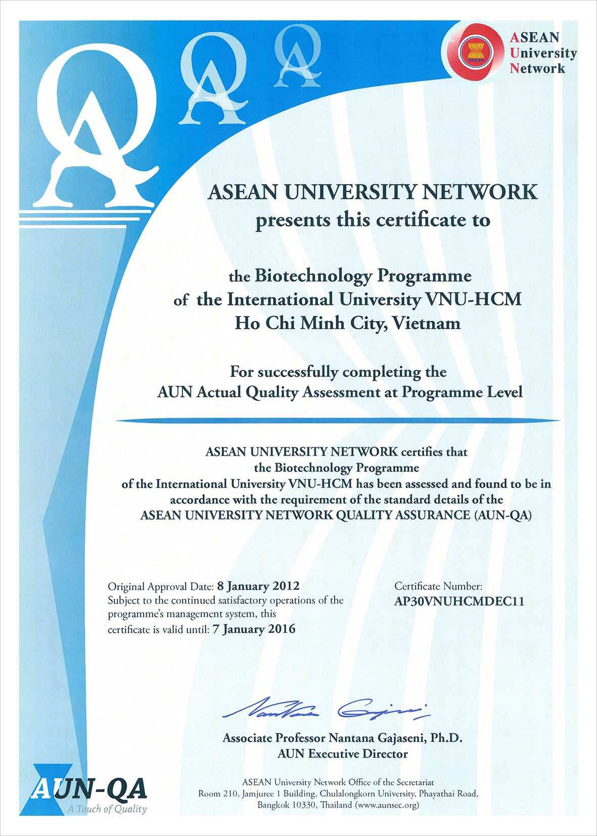 International University Aun Actual Quality Assessments At